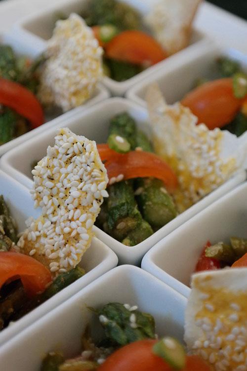 brosen kocht sesam spargelsalat fingerfood